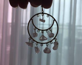 Rose quartz earrings, hoop earnings, Boho jewelry, filigree earrings, bridesmaid gift, dainty earrings, Gypsy jewelry, pink stone jewelry