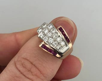 14k White Gold/Rose Gold Diamond and Ruby Ring Sz 4