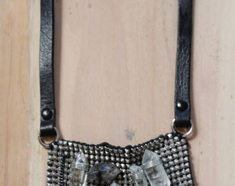 Leather, Crystal, and Mesh Necklace