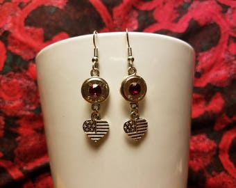 Patriotic American Flag Hearts//bullet earrings//40 Caliber//ammo jewelry//2nd amendment//Outdoor Jewelry//Americana//cowgirl