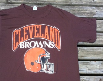 Vintage 80's Cleveland Browns Champion Made in USA XL butter/paper thin t-shirt
