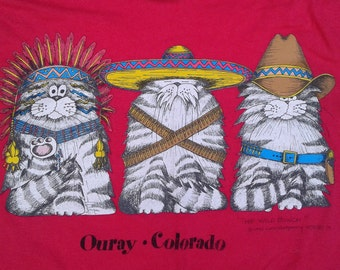 "Amazing 1992 Carol Montgomery Vintage Ouray, Colorado ""The Wild Bunch"" double-sided t-shirt Made in USA"