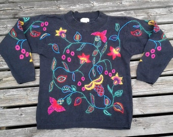 Vintage 80's Acrylic Knit Textured Neon Floral Bright Colourful Crew-neck Sweater Medium