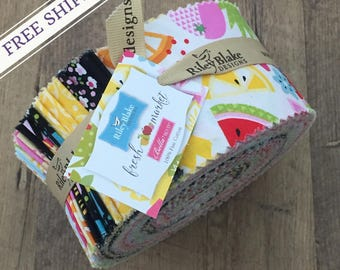 "Fresh Market by Bella BLVD for Riley Blake Designs Jelly Roll Fabric 2.5"" Rolie Polie Strips 40 pcs -  (Precut Quilting Fabric, 100% Cotton)"