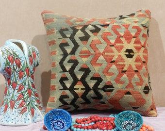 kilim pillow, turkish pillow,handmade pillow,decorativepillow,16x16inch,40x40cm