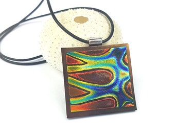 Dichroic Glass Pendant Necklace Fused glass pendant with leather cord necklace. Etched dichroic glass pendant by AMEArtistry2017