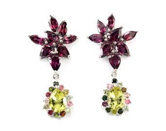 Red Earrings, Yellow Earrings, Tourmaline Earrings, Gemstone Earrings, Multistone Botanical Earrings, October Birthstone Art Deco earrings
