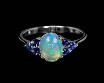 Opal engagement ring, white opal ring, Opal for her, delicate ring, birthday gift for women, opal gift for mom, gift for wife, promise ring