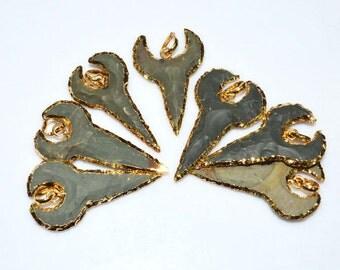 7 Pieces Petite Jasper Arrowhead Pendant - Jasper Arrowhead Electroplated With 24K Gold Plated Pendant, 45 - 50 mm, AH435