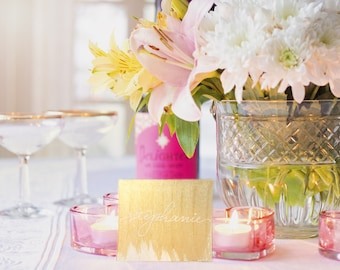 Gold and White Place Cards / Escort Cards