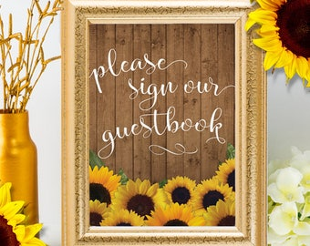 """Printable Rustic Sunflowers Please Sign our Guestbook Sign - 2 Sizes: 8""""x10"""" and 5""""x7"""" Signs, JPG Instant Download (NOT EDITABLE)"""