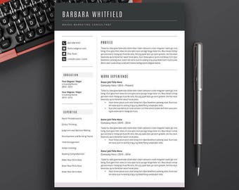 Resume Objective Sample Word Teacher Resume  Etsy Mckinsey Resume with Skills That Look Good On A Resume Pdf Professional Resume Template Cv Template Cover Letter Ms Word  Page  Resume Key Skills To Put On Resume Excel