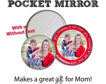 Pocket Mirror • Custom Photo • Family Photo • Gift for Mom • Stocking Stuffer • Secret Santa Gift