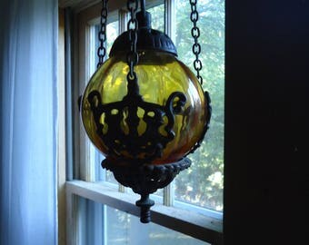 Vintage Glass globe - Glass candle holder - glass incense holder - Glass globe - Vintage glass - Vintage ornate metal - Ornate metal hanger