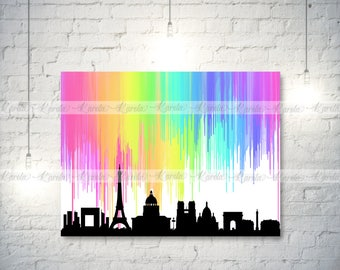 PARIS Skyline (Crayon/Watercolor Melted) -- Printable - Digital -