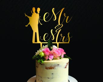 Wedding cake topper silhouette, Mr and Mrs Wedding Cake Topper, love cake topper, Custom First Name Initial, Wedding and Anniversary