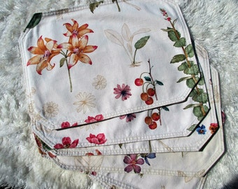 Floral Placemats Set of 6 Reversable Linen Look