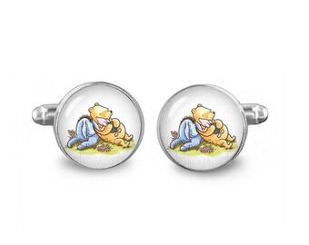 Winnie Pooh Cuff Links Winnie Piglet Eeyore Cufflinks 16mm Gift for Men Groomsmen Novelty Fandom Cufflinks Winnie Pooh Jewelry
