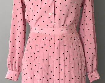 1980's Adolph Schuman for Lilli Ann Pink Blouse and Skirt Set with Black Polka Dots