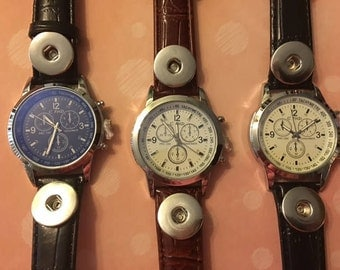 Just In New Black and Brown Leather Band Interchangeable Snap Watches for Men and Women - Take Your Pick from 3 Styles