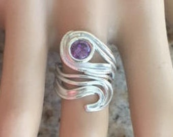 999 Fine Silver 925 Sterling Silver Unique Handcrafted Sculpted Unusual One of a Kind Gift for Her Adjustable Ring Size 6-8.5 Amethyst CZ