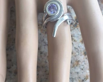 999 Silver and 925 Sterling Silver Handcrafted Sculpted Unusual One of a kind Gift for Her Unique Adjustable Ring Size 6-8 with Lavender CZ