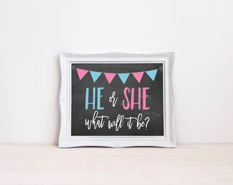"He Or She What Will It Be 8""x10"" Chalkboard Printable Sign 