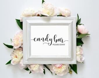 "Candy Bar 8""x10"" Printable Sign || Wedding Printables, Signs || Candy Bar Printable Sign || Wedding Calligraphy Signs (DIGITAL PRODUCT)"