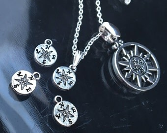 5 Tiny Compass Charm Pendants, 8mm Antique Silver Compass Jewelry Pendant/Charm, Sun Compass Nautical