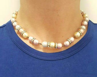 Pearls choker, Pastel color pearls with strass, Boho necklace or wrap bracelet