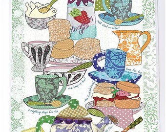 British cream tea towel, cotton printed kitchen towel. Cream tea design. Pretty tea time on a tea towel to gift. British product from UK