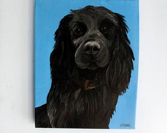 Pet Portrait on Canvas, 18 x 14 inches, Dog Painting, Cat Painting, Pet Loss, Canvas Painting, Acrylic Painting,