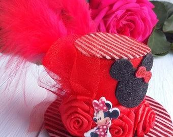 Mini Top Hat Headband Minnie Mouse Mini Top Hat Fascinator Red Mini Top Hat Mad Hatter Minnie Mouse Hat Black Hat Tea Party Hat Baby Shower
