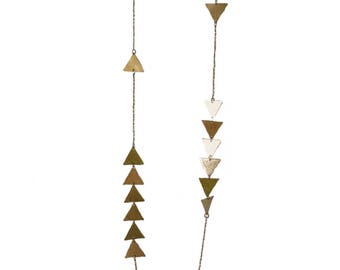 Golden triangles brass necklace