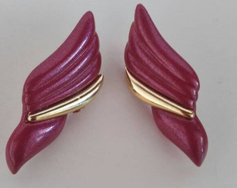 Vintage 1980s Pierced Earrings Cerise Metallic Pink And Gold