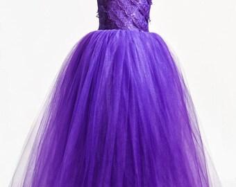 Purple One Shoulder Corset Gown
