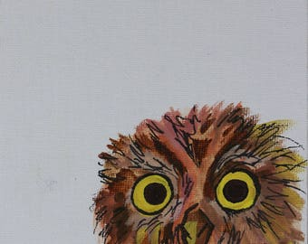Owl watercolour painting on canvas board