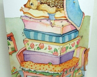 Princess and the pea watercolor art greeting card design 5x7 card art