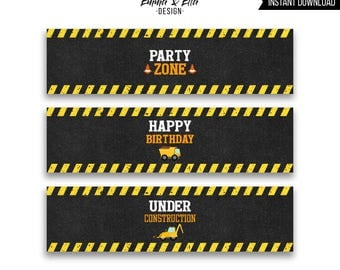 Construction  Water Bottle Labels, Printable, Construction Birthday Party, Dump Truck Party Decor, 088