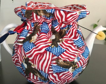 Teapot cozy, July 4th, Independence Day, friends,family,red white and blue