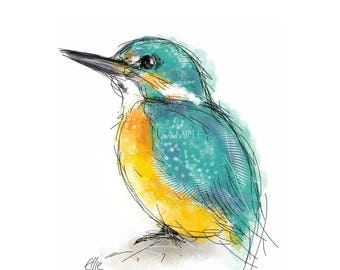 Mounted kingfisher print // kingfisher print // bird print // kingfisher art // kingfisher gifts // kingfisher painting // bird gifts