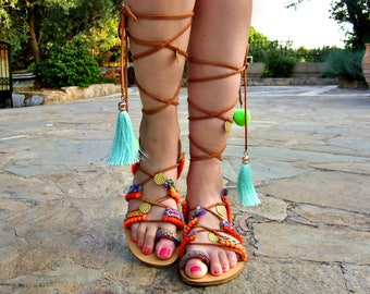 30791512ab5de3 FREE SHIPPING Boho Gladiator Sandals   Leather Sandals   Colorful Sandals    Lace up handmade Sandals