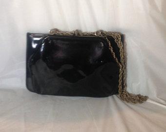 Vintage Black Patent Leather 3 Compartment Purse