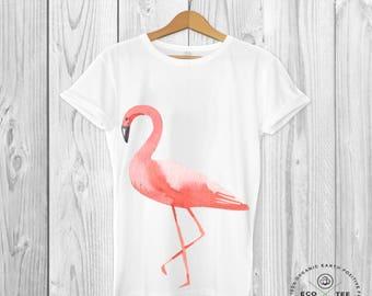 Flamingo T-shirt - graphic tee - Beach Tshirt - Summer Tee - Party shirt - Organic top - Vegan tee - Fairtrade graphic t-shirt - Eco Tee