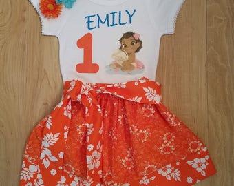 Baby MoanaTee Shirt Birthday, Baby Moana Costume, Baby Moana outfit, Baby Moana Party