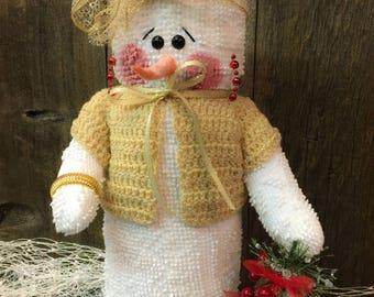 "Handcrafted Snowman , ""Effie"", Stuffed Chenille Snowman"