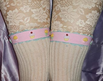 Cupcakes ! Sweet Pink Aqua Lace Elastic ~ Sock Garters ~ with Adjustable Snaps for Thigh High and OTK !