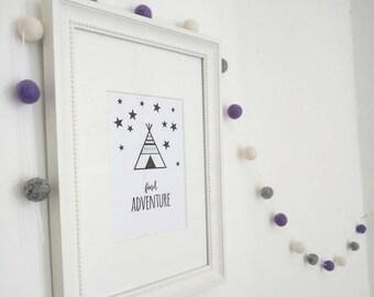 purple, grey and white feltball garland, custom made nursery, bedroom home decor, Hygge decoration, gift, home decor, teen bedroom decor