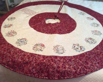 Quilted Christmas tree skirt Twelve days of Christmas