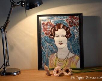 """Portrait Vintage, Portrait d'Agatha Christie, cadre vintage, intitulé """"L'écrivaine"""""""